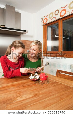 Mother and daughter crack a piggy bank Stock photo © IS2