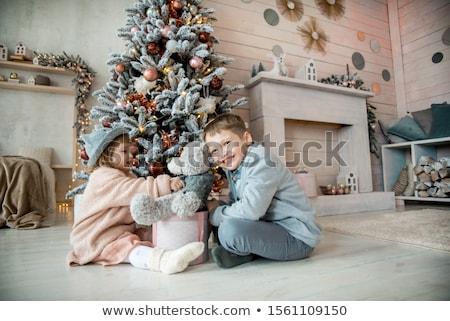 Fiú lány nyitás ajándékok gyermek születésnap Stock fotó © IS2