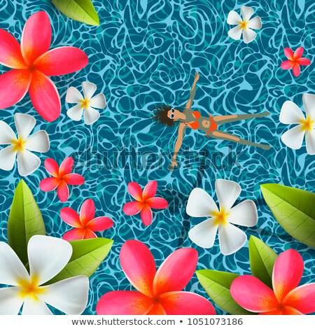 nyár · medence · buli · poszter · design · sablon · pálmalevelek - stock fotó © ikopylov