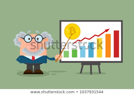 professor or scientist cartoon character with pointer discussing bitcoin growth with a bar graph stock photo © hittoon