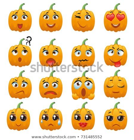 Orange Pumpkin Vegetables Cartoon Emoji Face Character With Expression Stock photo © hittoon