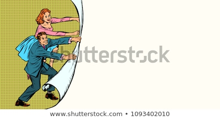 gelukkig · zakenvrouw · tonen · iets · presentatie · glimlachende · vrouw - stockfoto © studiostoks