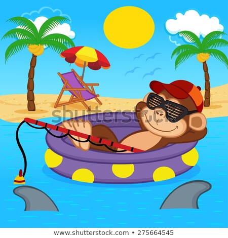 monkey on inflatable palm Stock photo © adrenalina