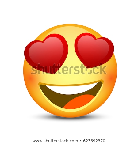 Smiling Love Cartoon Funny Face With Hearts Eyes And Expression Stock photo © hittoon