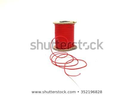 Carrete rojo hilo blanco aislado trabajo Foto stock © OleksandrO