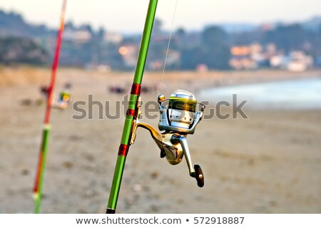 Beach surfcasting spinning fishing reel and rod Stock photo © lunamarina