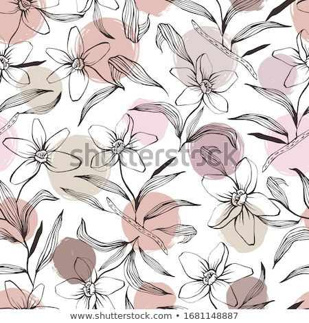 floral seamless pattern with pink flowers doodle hand drawn line art design element stock photo © essl
