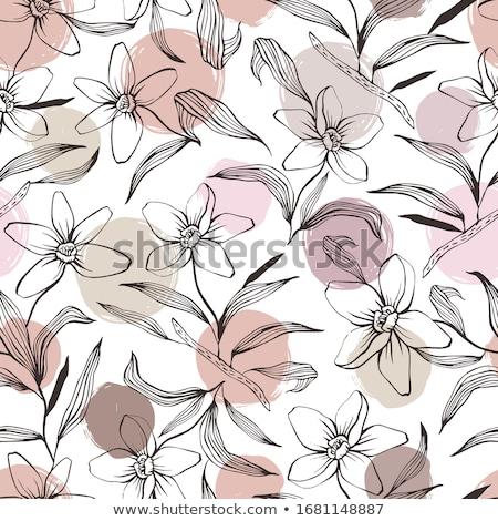 ストックフォト: フローラル · ピンク · 花 · いたずら書き · 手描き