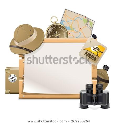 vector wooden board with safari accessories stock photo © dashadima