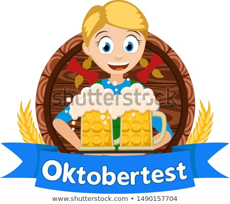 two german girl hold beer in wooden mug oktoberfest holiday stock photo © orensila