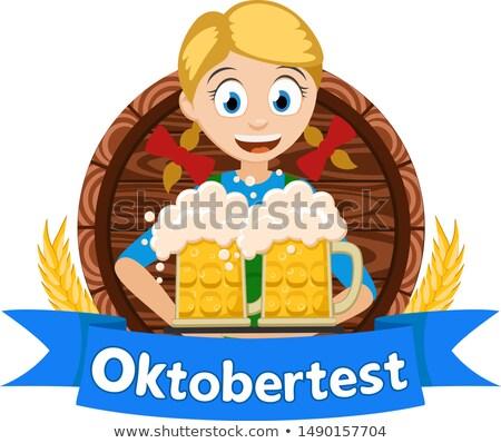 Two German girl hold beer in wooden mug. Oktoberfest holiday Stock photo © orensila