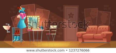 oda · kırmızı · sandalye · gramofon · örnek · arka · plan - stok fotoğraf © bluering