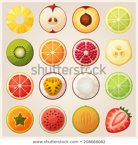 Pineapple Slices and Peaches Vector Illustration Stock photo © robuart