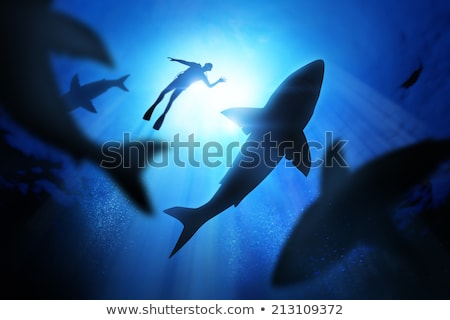 Scuba diver and shark underwater Stock photo © colematt