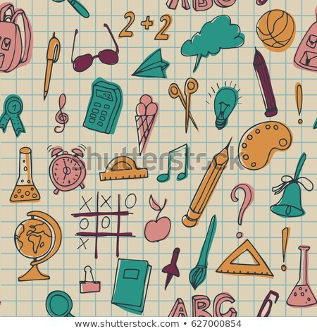 Végtelen minta szett különböző iskola dolgok használt Stock fotó © kollibri