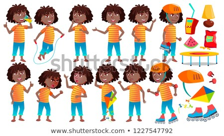 Girl Schoolgirl Kid Poses Set Vector. High School Child. Secondary Education. Casual Clothes, Friend Stock photo © pikepicture