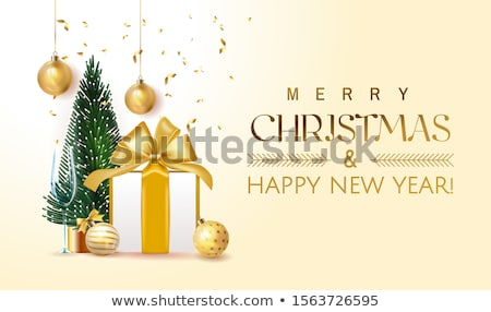 Merry Christmas Illustration with Gold Glass Ball, Star and Typography Elements on Black Background. Stock photo © articular