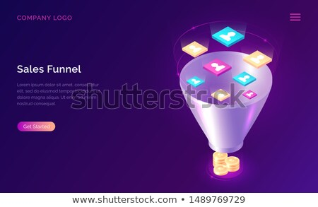 isometric flat vector landing page template of conversion funnel stock photo © tarikvision
