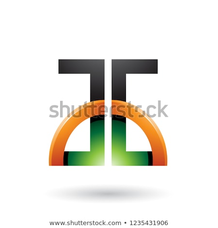 Green and Orange Letters A and G with a Glossy Half Circle Vecto Stock photo © cidepix