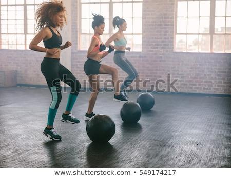 фитнес · осуществлять · мяча · белый · молодые - Сток-фото © boggy