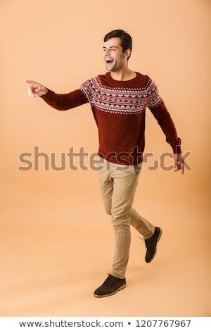 Tam uzunlukta görüntü kafkas adam 20s kıl Stok fotoğraf © deandrobot