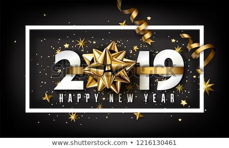 boldog · új · évet · vektor · 3D · szám · felirat · karácsony - stock fotó © olehsvetiukha