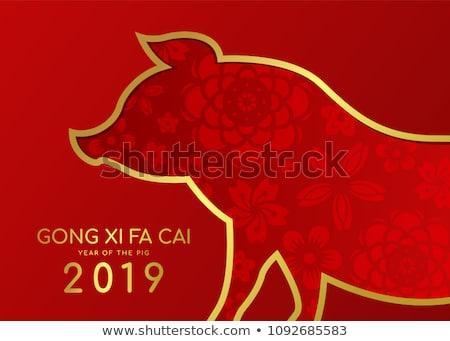 Anno suino biglietto d'auguri capodanno cinese traduzione cinese Foto d'archivio © SelenaMay