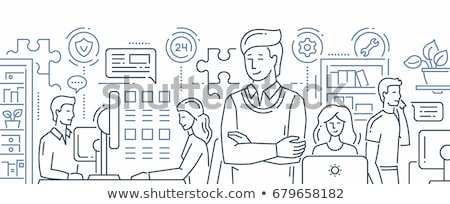 technical support   modern line design style web banner stock photo © decorwithme