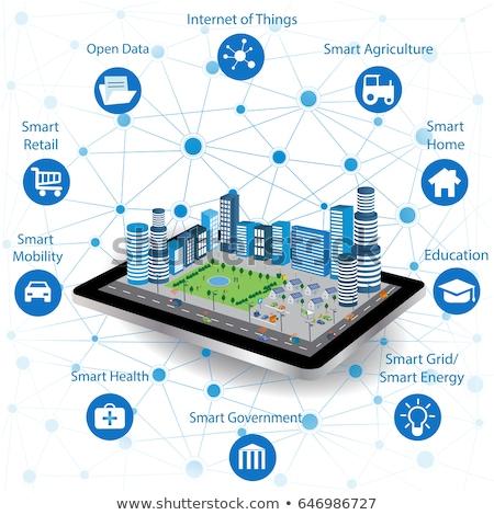 Globale internet spullen smart stad mensen Stockfoto © RAStudio
