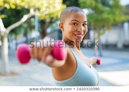 Portré derűs túlsúlyos fitnessz nő visel sportruházat Stock fotó © deandrobot