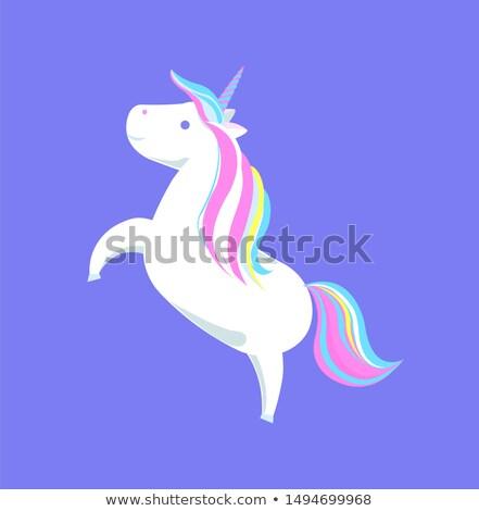 Cute regenboog scherp hoorn mysterieus paard Stockfoto © robuart