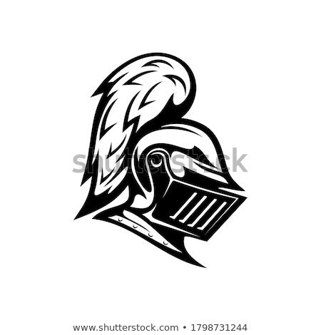 Chevalier casque pop art rétro dessin Photo stock © studiostoks