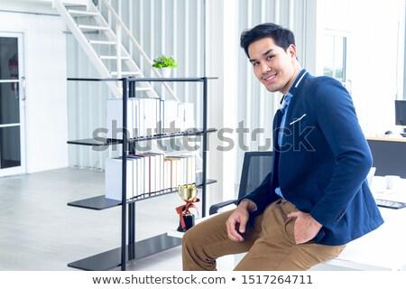Felice moderno imprenditore seduta trofeo Cup Foto d'archivio © feedough