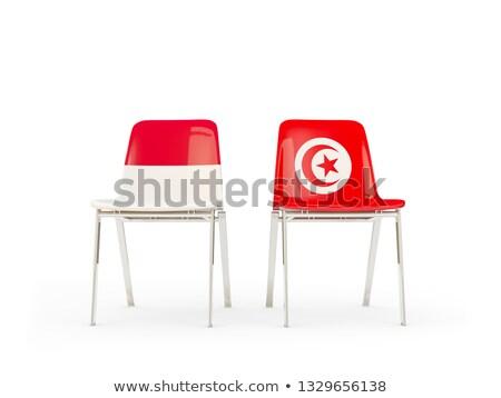 два стульев флагами Индонезия Тунис изолированный Сток-фото © MikhailMishchenko