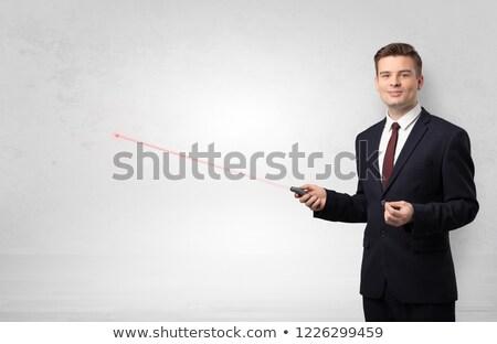Zakenman laser exemplaar ruimte witte muur jonge Stockfoto © ra2studio