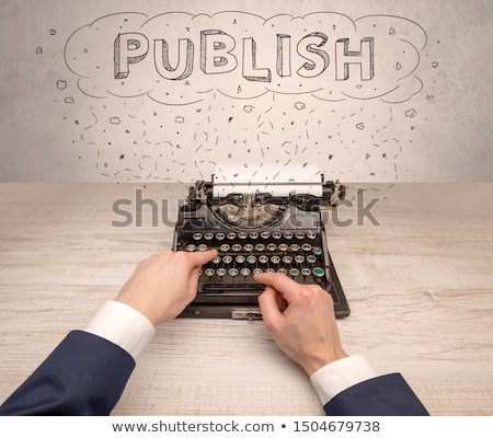First person perspective hand and typewriter with cloud message concept Stock photo © ra2studio