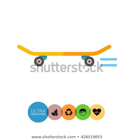 Skateboard icon teken vector kunst Stockfoto © vector1st