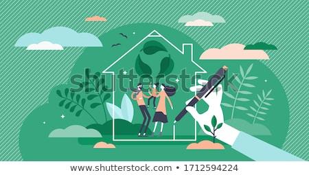 Vert respectueux de l'environnement durable maison personnes illustration Photo stock © cienpies