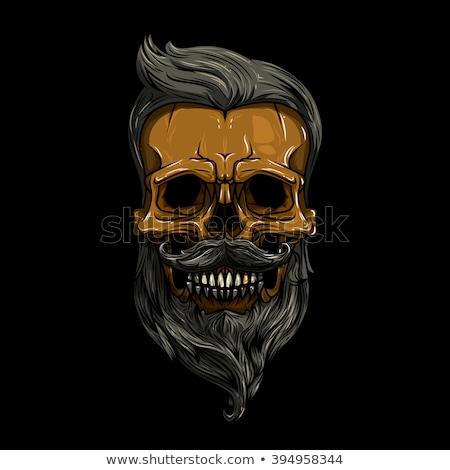 Zangado crânio barba penteado bigodes óculos de sol Foto stock © netkov1
