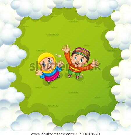 kettő · muszlim · gyerekek · integet · kezek · illusztráció - stock fotó © colematt