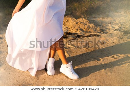 romantic blonde beauty wearing white dress stock photo © konradbak
