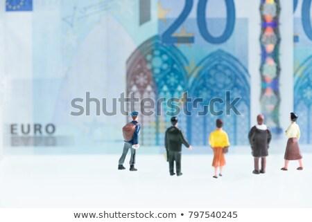 Miniatűr Euro bankjegyek mögött hordoz bőröndök Stock fotó © nito