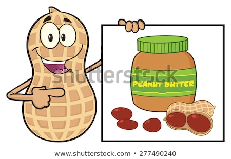 Funny Peanut Cartoon Mascot Character Showing A Banner With Peanut Butter Jar Stock photo © hittoon