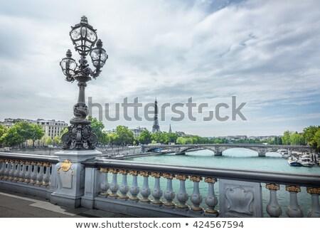 híd · Eiffel-torony · Párizs · folyó · ibolya · Franciaország - stock fotó © artjazz