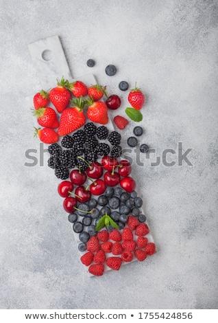 Friss organikus nyár bogyók keverék fehér Stock fotó © DenisMArt