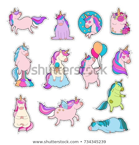 set of animal sticker pack stock photo © bluering
