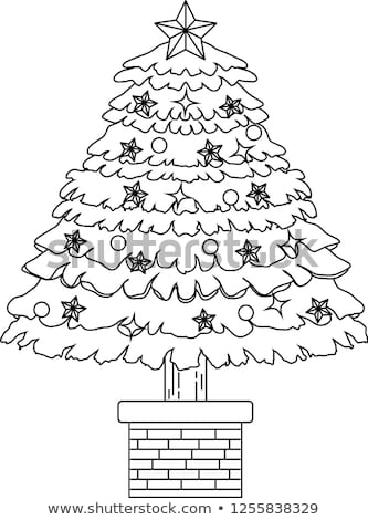 díszített · karácsonyfa · skicc · illusztráció · nagy · luxus - stock fotó © Blue_daemon