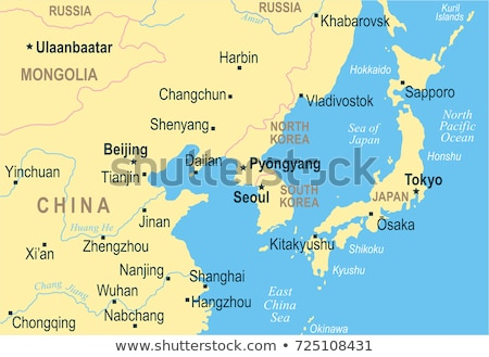 russia japan china and south korea vector maps stock photo © conceptcafe