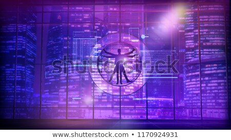 Vitruvian man on the background of neon lights of the city Stock photo © ConceptCafe