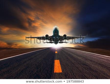 белый · самолет · Flying · небе · облака · посадка - Сток-фото © moses